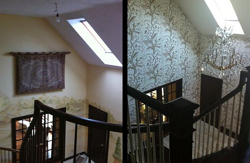 Carefully selected wallcoverings give this foyer a dramatic new look. Designed by Michael Greene