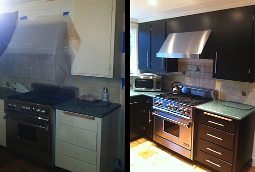 Fresh paint and coordinating hardware make this kitchen look new again. Designed by Michael Greene